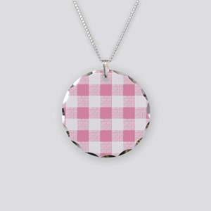 Pink Gingham Pattern Necklace Circle Charm