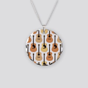 Acoustic Guitars Pattern Necklace Circle Charm