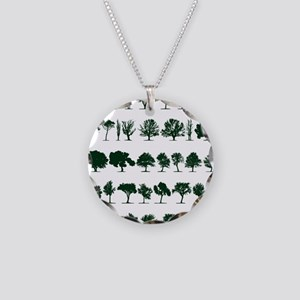 Tree Silhouettes Green 1 Necklace Circle Charm