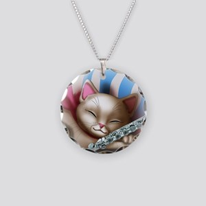 Napping Cat and Flute Necklace Circle Charm