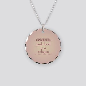 Junk Food is a Religion Necklace Circle Charm