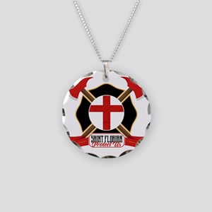 Saint Florian Shield Necklace Circle Charm