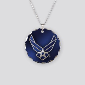 U.S. Air Force Logo Detailed Necklace Circle Charm