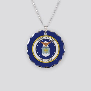 Air Force USAF Emblem Necklace Circle Charm