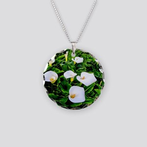 Field of Calla Lily Flowers Necklace Circle Charm