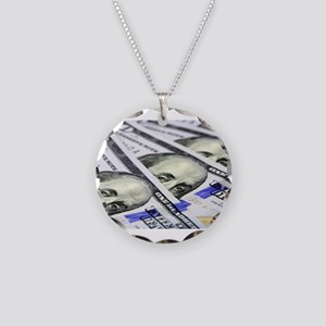 US Currency One Hundred Doll Necklace Circle Charm