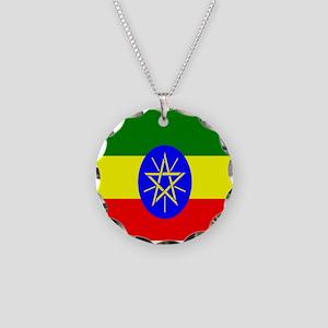 Flag of Ethiopia Necklace Circle Charm