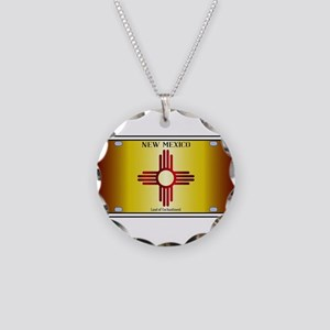 New Mexico Flag License Plat Necklace Circle Charm