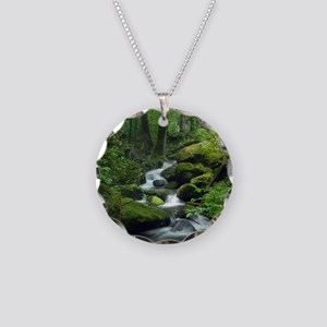 Summer Forest Brook Necklace Circle Charm