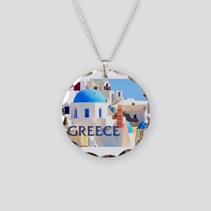Blinding White Buildings in Necklace Circle Charm