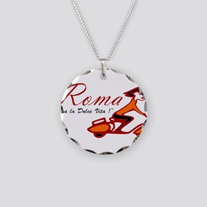 ROME SCOTTER GIRL Necklace Circle Charm