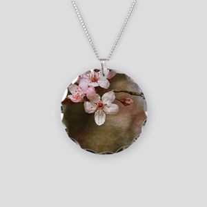 cherry blossom flowers Necklace Circle Charm