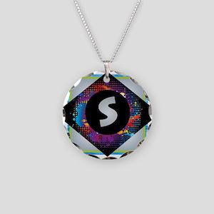 S - Letter S Monogram - Blac Necklace Circle Charm