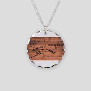 Alaska Map Brand Necklace Circle Charm