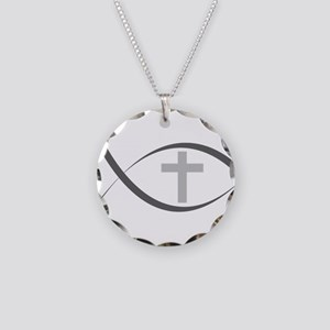 jesus fish_reverse Necklace Circle Charm