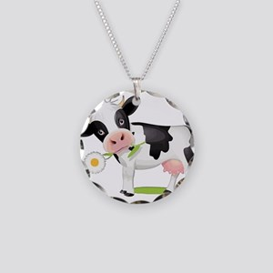 Flower Power Cow Necklace Circle Charm