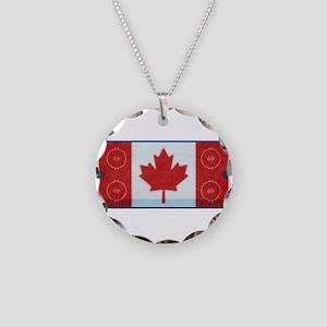 Hockey Rink Flag Necklace Circle Charm