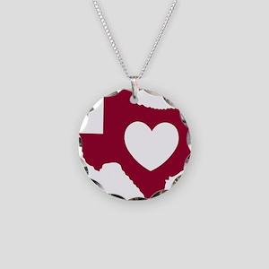 heart_maroon Necklace Circle Charm