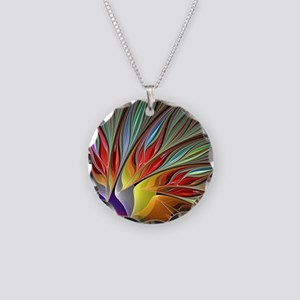 Fractal Bird of Paradise Necklace Circle Charm