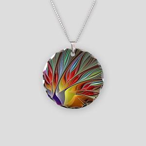 Fractal Bird of Paradise Necklace Circle Charm