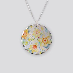 Watercolor yellow flowers da Necklace Circle Charm