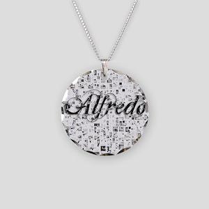 Alfredo, Matrix, Abstract Ar Necklace Circle Charm