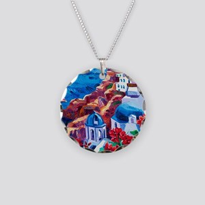 Greek Oil Painting Necklace Circle Charm