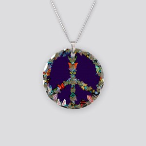 Butterfly Peace Sign Blanket Necklace Circle Charm
