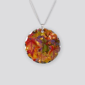 Autumn Leaves 97M Red Colorf Necklace Circle Charm