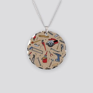 Work Tools on Wood Necklace Circle Charm