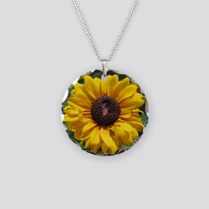 Sunflower Necklace Circle Charm