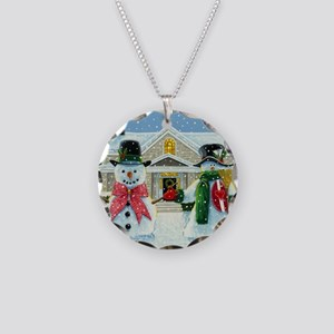 American Snowman Gothic Necklace Circle Charm