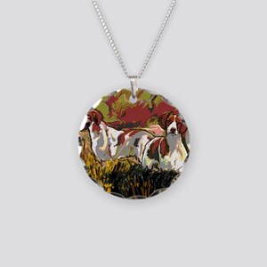 Brittany spaniels in the fie Necklace Circle Charm