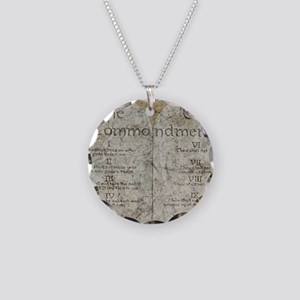 10 Commandments Necklace Circle Charm