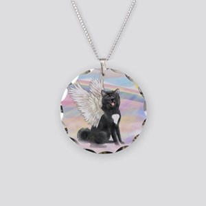 Black Akita Angel Necklace Circle Charm