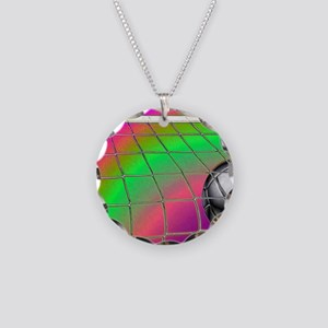 Rainbow Volleyball  Net Necklace Circle Charm