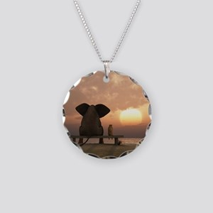 Elephant and Dog Friends Necklace Circle Charm