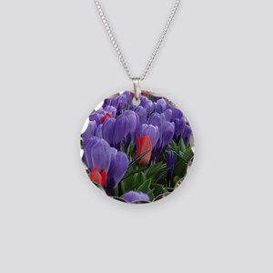 Purple  Red Tulips at Keuken Necklace Circle Charm
