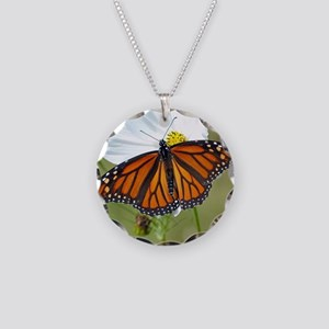 Monarch Butterfly on Cosmos Necklace