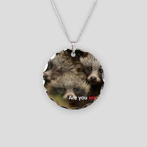 Anti-Fur Raccoon Dog pups Necklace Circle Charm