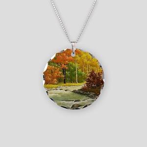 Autumn Landscape Necklace Circle Charm