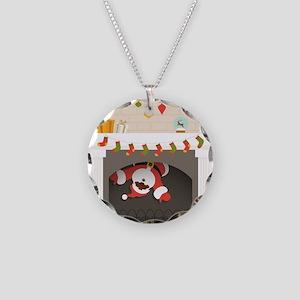 black santa stuck in firepla Necklace Circle Charm