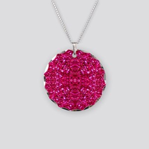 hot pink glitter Necklace Circle Charm