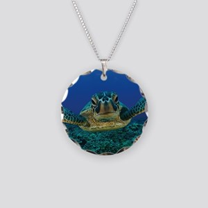 Turtle Swimming Necklace Circle Charm