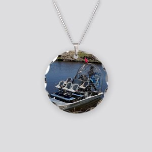 Florida swamp airboat 2 Necklace Circle Charm