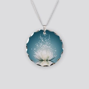 White Lotus Magic Necklace Circle Charm