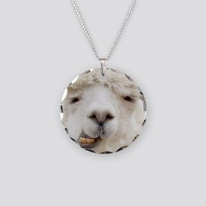 Funny Alpaca Smile Necklace Circle Charm