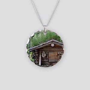 Old log cabin in woods, Alas Necklace Circle Charm