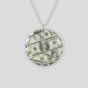 100 Dollar Bill Money Pattern Necklace