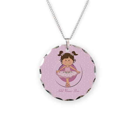 Personalized Ballerina Ballet Necklace Circle Char